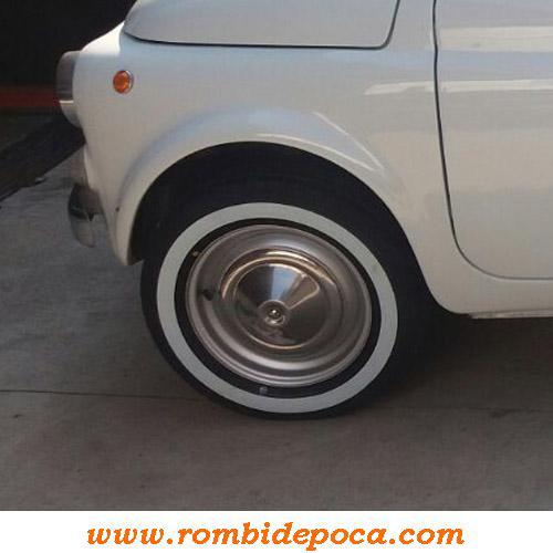 FASCIA BIANCA PER PNEUMATICI RUOTE 12 GOMMA X AUTO EPOCA FIAT 500 D//F//L//R 126